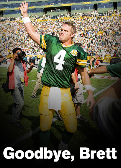 Brett Favre is still playing, but says goodbye to Green Bay.